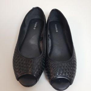 Torrid Black Open Toe Flats